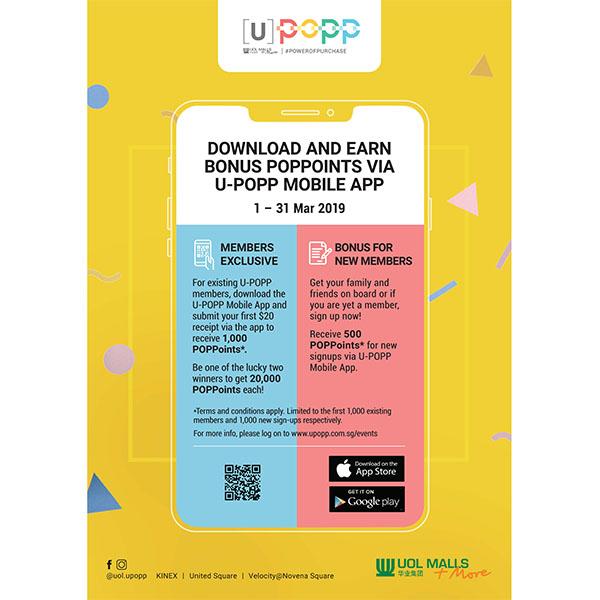 DOWNLOAD U-POPP MOBILE APP TO EARN BONUS POPPOINTS!